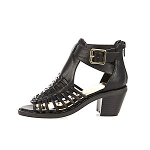 Girls black strappy heeled shoes