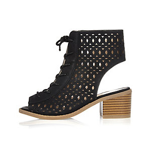 Girls black block heel laser cut laceup boots
