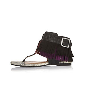 Girls black fringed sandals