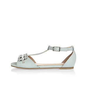 Girls blue gem embellished T-bar sandals