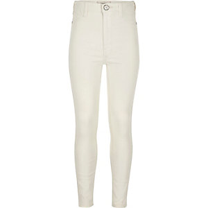 Girls white high waisted Molly jeggings