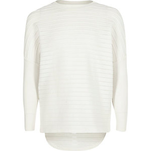 Girls cream ribbed slouchy top