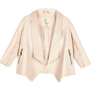 Mini girls pink draped jacket