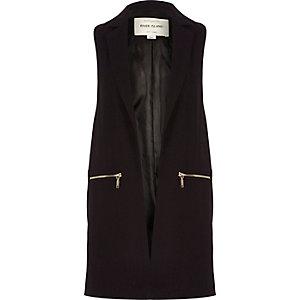 Dark purple smart sleeveless jacket