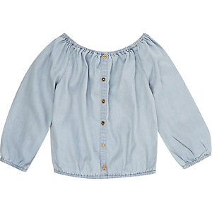 Mini girls blue bardot top
