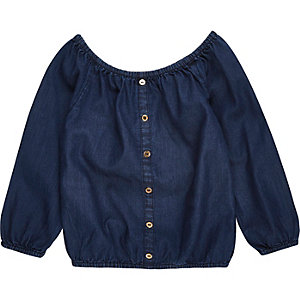 Mini girls dark blue bardot top