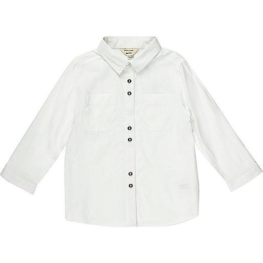 Geknöpftes Hemd, weiß-meliert