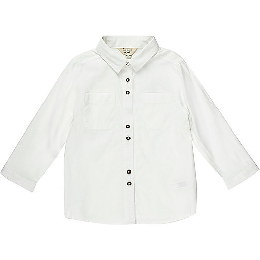 Mini girls white smart button-up shirt