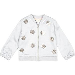Mini girls grey embellished bomber jacket