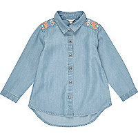Mini girls denim embroidered shirt