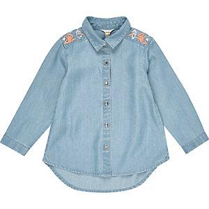Mini girls denim embroidered shirt