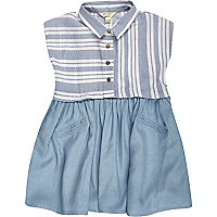 Mini girls blue denim layered dress