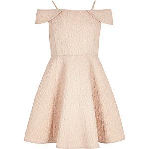 Girls pink metallic skater dress