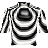 Girls black stripe fitted top