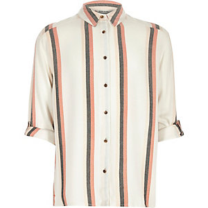 Girls cream stripe shirt