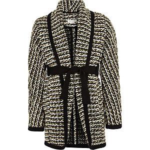 Girls khaki belted blanket coat