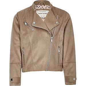 Girls beige faux suede biker jacket