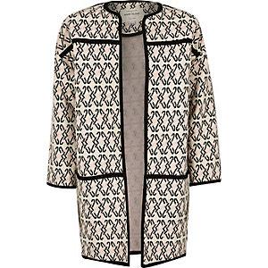 Girls black geometric jacquard cocoon coat