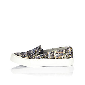 Girls navy printed slip on plimsolls
