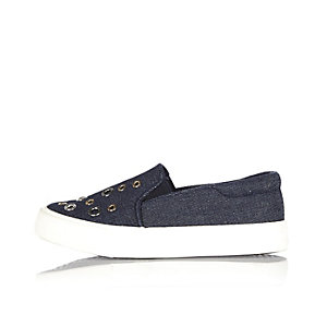 Girls blue navy eyelet plimsolls
