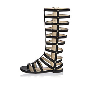 Girls knee high gladiator sandals