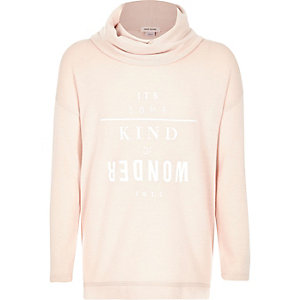 Girls light pink slogan cowl neck sweater