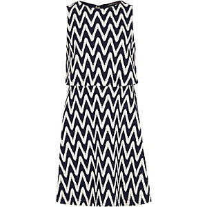 Girls navy zig zag layer dress