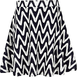 Girls navy zip zag skater skirt