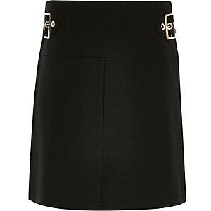 Girls black buckle A-line skirt