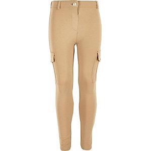 Girls beige jersey cargo leggings