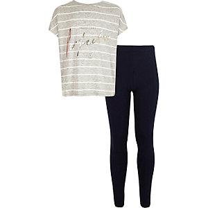 Girls grey stripe t-shirt leggings outfit