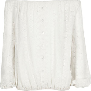 Girls white broderie lace bardot top