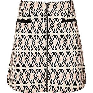 Girls beige jacquard zip-up skirt