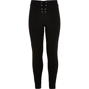 Girls black lace-up leggings