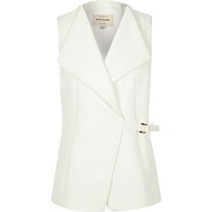 Girls cream D-ring sleeveless jacket