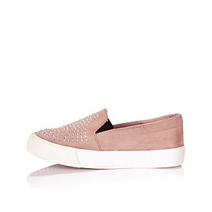 Girls pink embellished slip on plimsolls
