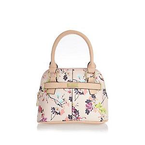 Girls pink floral print tote handbag