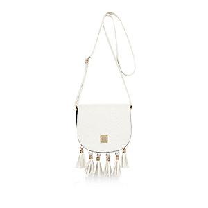 Girls white cross body tassel saddle handbag