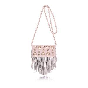 Girls pink eyelet tassel cross body handbag