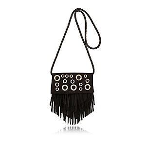 Girls black eyelet tassel cross body handbag