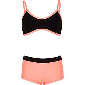 Girls color block bikini set