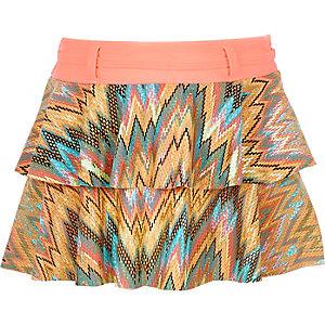 Girls coral zig zag ruffle skirt