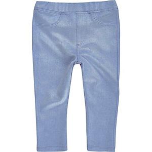 Mini girls blue faux suede leggings