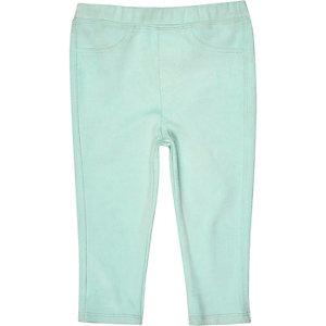 Mini girls green faux suede leggings
