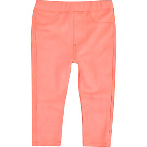Mini girls pink faux suede leggings