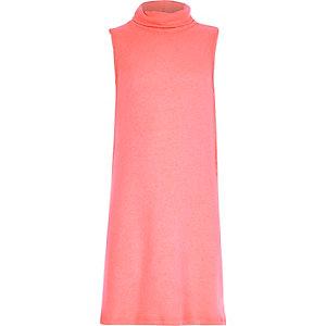 Girls pink sleeveless roll neck top