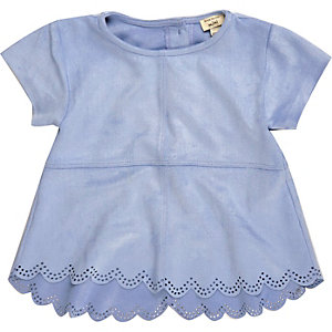 Mini girls blue faux suede laser cut t-shirt