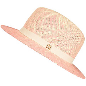 Girls pink ombre straw hat