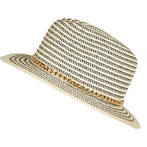 Girls beige chain fedora hat