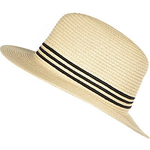Girls beige stripe fedora hat